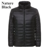 Wholesale White Puffer Coats - Men's Light Weight Down Jacket Packable Stand Collar Coat With Carry Bag Puffer Down Parka Autumn&Winter Outwear(Max Size:US XXXXX-Large )