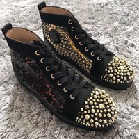 Wholesale Popular Beads - [Original Box,Size 35-47] Beads Leather Sneakers Spikes Studded Toe High Top Red Bottom Women,Men Shoes,Unisex Ever-popular Casual Luxury
