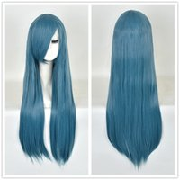 Harajuku perucas Halloween Party Lolita gema escura Blue Straight remy hair Long Wig