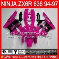 zx6r west verkleidungen großhandel-8Geschenke 23 Farben Für KAWASAKI NINJA ZX6R 94 95 96 97 600CC ZX-6R rosa west 33NO58 ZX636 ZX 636 ZX 6R ZX600 1994 1995 1996 1997 Verkleidungssatz