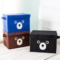 Wholesale fabric bins for storage - Storage Box Cute Teddy Bear Oxford Cloth Storages Bin For Toy Baby Hook Clothes Large Capacity Gift Basket 13 5ms F R