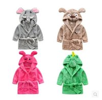 Wholesale Thick Girl Pajamas - AUTUChildren's clothing for fall winter flannel cartoon bear thick girls and boys bathrobes Big boy in pajamas sleepwear and loungewear