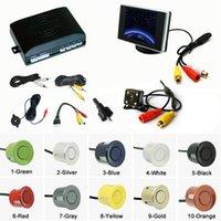 Wholesale Monitor Rear View Reverse Sensors - LEEWA Car 4-sensor Parking Sensor With 3.5inch Monitor and 4-LED CCD Camera Rear View Reversing System #2760