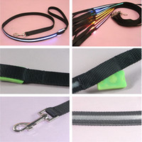 Wholesale Safety Goggles Free Shipping - Shipping Free Pet Dog Puppy Cat Kitten Soft Glossy Reflective Led Leash Safety Leashes Buckle Pet Supplies Products Colorful 1217