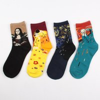 Wholesale Painting Oil Woman Animal - Wholesale- 2015 Brand Famous Oil Painting Socks For Women Novelty Mona Lisa Art Sock Street Style Crazy Socks Cotton