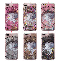 Wholesale Iphone 5c Back Case - Unicorn Horse Quicksand Dynamic Liquid Phone Case For Iphone 7 7 6S 6 Plus SE 5 5S 5C Gliter Back Cover Hard PC Case Fundas