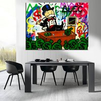 Wholesale Pictures Decorations Stocking - New Fashion stock Alec monopoly Graffiti arts paint canvas for wall art decoration oil painting wall painting picture No framed e09