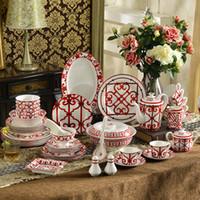 ingrosso set da cucina cinese-Set di stoviglie in porcellana bone china Chinese Red Characteristics design 58pcs set di stoviglie 43 pz set per cena set da caffè 15 pezzi