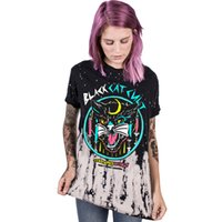 Wholesale Cat Modelling Shirt - Factory Direct Sales Models Black And White Cat Digital Printing Women's T-Shirt Casual Sports Quick-Drying Short-Sleeved Round Neck T-Shirt