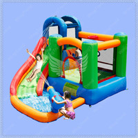 Wholesale Bouncy Slides - Family Use Inflatable Bouncy Calstle Combo Water Slide,Bounce House Include Water Gun,Jumping Castle with Air Blower