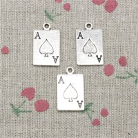Wholesale Poker Jewelry Charms - 60pcs Charms playing card poker 20*12mm Antique Silver Pendant Zinc Alloy Jewelry DIY Hand Made Bracelet Necklace Fitting