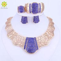 Wholesale jewelry wedding sets gold brown for sale - Group buy African Gold Color Nigerian Wedding African Beads Jewelry Set Blue Brown Red Crystal Jewelry Sets Bracelet Earring Ring Jewelry