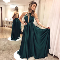 Темно-зеленый атлас A-Line Backless Пром платья Длинные Halter Keyhole Front Sexy Evening Party Платья Назад Ремни Cross Prom Gowns