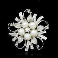 Wholesale Wholesale Costume Jewelry Pins - Fashion Jewelry Imitation Pearl Floral Alloy Crystal Rhinestone Brooches Pin Bouquet Bridal Flower Wedding Gift For Women Costume Broach DHL