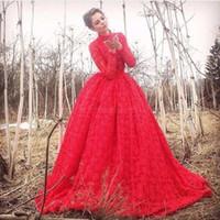 Wholesale Engagement Dress Long Sleeve - Robe De Soiree 2017 Vintage Lace High Neck Long Sleeve Evening Dresses Ball Gown Long Red Engagement Dress Party Gowns