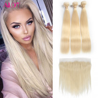 Wholesale Hair Color 613 - 613 Blonde Bundles Brazilian Virgin Hair 613 Blonde Straight Human Hair Weave 3 Bundles With Lace Frontal 13*4 Lace Frontal Ear To Ear