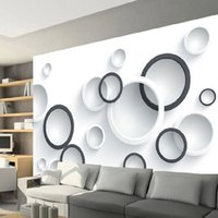 Paper Wallpapers painted black video - Seamless large scale TV backdrop video wall wallpaper modern simple d d wallpaper painting black and white circle
