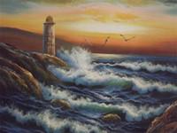 dalga yağlı boya toptan satış-Çerçeveli, deniz feneri büyük tuval sanat deniz manzarası okyanus sunset sea wave, El Sanatları sanat yağlıboya tuval Üzerine Pamuk keten Çok boyutları, R216 #