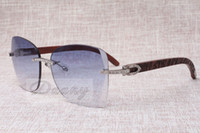 Wholesale Naturals Hot Diamonds - 2017 new hot metal diamond cool sunglasses T8100905 high quality fashion sunglasses natural Checkered wooden glasses Size: 58-18-135 mm