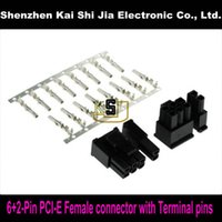 Wholesale Pci Express Cable Pin - Wholesale- Free shipping 50sets 6+2Pin Female PCI-Express PCIe Connector with 400PCS Terminal pins Plug - Black