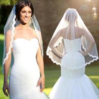 Wholesale Eyelash Lace Veil - New High Quality Eyelash Lace Applique One Layer Soft Net Short Wedding Bridal Veils with Comb 150cm White Ivory Bride Accessory 2017