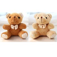 Wholesale Small Plush Teddy Bears - Wholesale- 30Pcs Lot Kawaii Small Joint Teddy Bears Stuffed Plush With Bow 10CM Toy Teddy-Bear Mini Bear Ted Bears Plush Toys Gifts 078