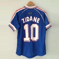 Wholesale France Soccer Shirt - 1998 FRANCE RETRO VINTAGE ZIDANE HENRY MAILLOT DE FOOT Thailand Quality soccer jerseys uniforms Football Jerseys shirt