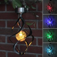 Wholesale lighted wind chime - Solar Power light Wind Spinner LED Light Outdoor Garden Courtyard Hanging Lamp Lawn Light 7 Colors Changing Solar Spiral Wind Chime Lights