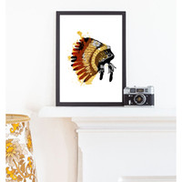 Animal spray paint hats - ART Indians Hat Canvas No Frame Art Print Poster Wall Pictures for Home Decoration