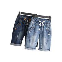 Wholesale Yellow Loose Beads - Wholesale- 2017 Plus size 4XL 5XL Summer Ripped Jeans Short Pants Women Casual Lace Up Capris Ladies Wide Leg Denim Jeans Harem Pants C3200