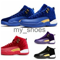 Wholesale Mens Leather Hiking Boots 12 - New Retro 12 XII Gold Velvet Heiress Mens Basketball Shoes Red Black Sneakers Retros 12s Trainers Athletics Man Sports Boots Size 8-13