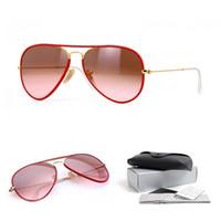 Wholesale Glasses For Red Wine - Top quality pilot sunglasses brands for men women wine red gradient transparent lens discoloration designer sunglasses