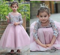 Wholesale Toddlers Pageants Dresses For Sale - Hot Sales Birthday Princess Dress For Little Girls Appliqued Sleeves Ankle Length Flower Girl Dresses Toddler Pageant Gowns Custom Quality