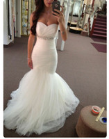 Wholesale Sweetheart Strapless Sparkling Wedding Dress - Sexy Mermaid Wedding Dresses Ivory Bridal Gowns Strapless Sparkling Sash Sweep Train Wedding Gowns Lace-up Zipper Back