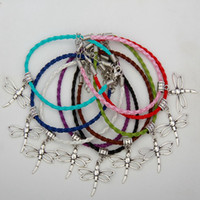 Wholesale Color Dragonfly Charms - 2017 Hot Sell 50pcs Vintage Silver Dragonfly Charm Pendants Mixed Color Braided Rope Bracelets Fashion Jewelry DIY For Women&Men S938