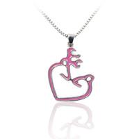 Wholesale Doe Animal - Wholesale-Pink Buck & Doe His Hers Hollow Heart Pendant Necklace Memorial Pendants Animal Charms Couple Men Women Lovers Wholesale