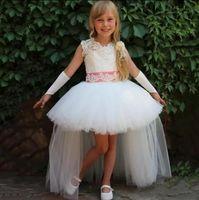 Wholesale royal purple little girls bridesmaid dresses resale online - White Ball Gown Sleeveless Jewel Organza Bridesmaid Dresses Summer Style Girls Pageant Dresses Made Little Girls
