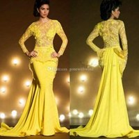 Wholesale Short Overlay Dress Prom - Saudi Arabia long sleeved overlay mermaid evening dresses 2017 jewel neckline yellow lace bridal gown