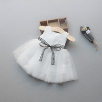 Wholesale Little Girls Party Clothing - Little Girls Flower Dresses Kids Girl Lace tutu Dress Baby Girls princess Party Dress 2017 Kids Summer clothing