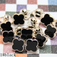 Wholesale Wholesale Black Shank Button - Buttons shank 12.5mm black white clover for sweater coat shirt jacket handmade Gift Box Scrapbook Craft DIY Sewing accessories