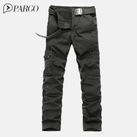 Wholesale Mens Multi Pocket Cargo Pants - Wholesale-2016 mens clothing high quality mens cargo pants multi-pocket millitary pants Loose cotton casual men trousers(no belt)1590