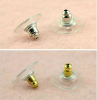 hacer pendiente al por mayor-500pcs / lot Silver Gold-Plated Earring Backs Accesorios Para Pendientes Earnuts Stoppers Diy Earring Findings Fabricación de Joyas Materiales