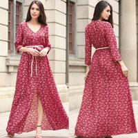 Wholesale Boho Xxl - Summer Bohemian Style Dresses Women Boho Chiffon Casual Floral Dresses Party Beach Long Maxi Red long dress S-XXL