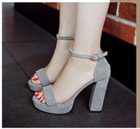 Wholesale Ms Open Office - MS Women sandals Plus size 34-40 buckle strap summer shoes woman fashion Thick high heels Gladiator sandals women Sandalias freeshipping