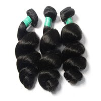 Wholesale Wholesale Black Natural Hair Products - Loks Hair Products Loose Wave Indian Virgin Hair Bundles 3Pcs Lot Unprocessed Indian Loose Wavy Human Hair Weave Natural Black Dyeable