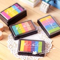 Wholesale Stamps Albums - Wholesale- Big Gradient Colorful Ink pad Ink Stamp Inkpad set for DIY Funny Work Scrapbooking Album Fingerprint Stamp Pad tinta sellos