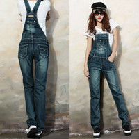 Wholesale Womens Bib Overalls Denim - Wholesale- Fashion Womens Jumpsuit 0veralls Spaghetti Strap Body Pants Street Style Denim Bib Women Lady Jeans Rompers pantalon femme 25-29