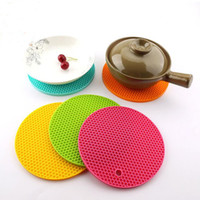 Wholesale Honeycomb Table - 1 pcs Honeycomb Shape Table Mat Silicone Round Non-Slip Heat Resistant Mat Be Hung Durable Coaster Cushion Silicone Placemat