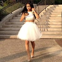 Wholesale Winter Girl Cute Images - white Two Pieces Homecoming Dresses TuTu skirt Cute Black girl Short Party dress vestido de graduacion