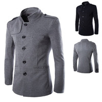 Wholesale Black Tunic Men - New Arrivals Winter Men Casual Stand Collar Chinese Tunic Suit Blazer Jackets Black Single Breasted Slim Jacket and Coat M-2XL